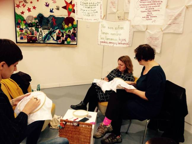 Embroidery session in the gallery