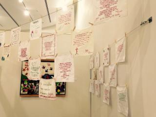 Embroidering handkerchiefs in solidarity.